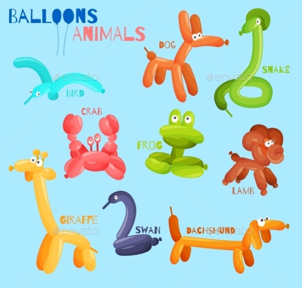 Balloon Animals Isolated  - Decorative Symbols Decorative