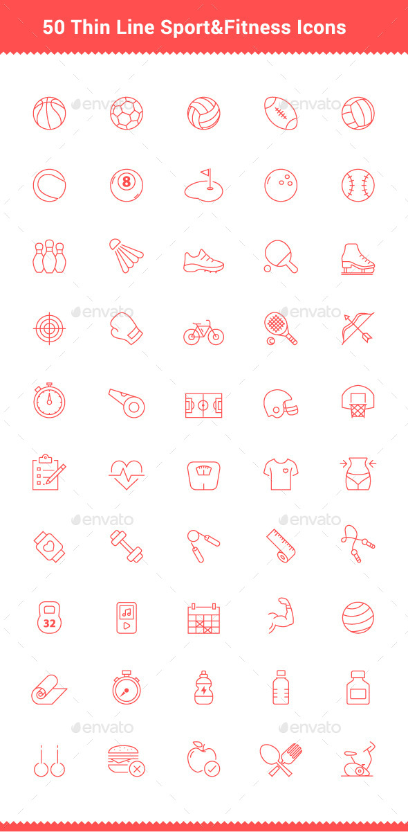 50 Thin Line Stroke Sport and Fitness Icons - Objects Icons