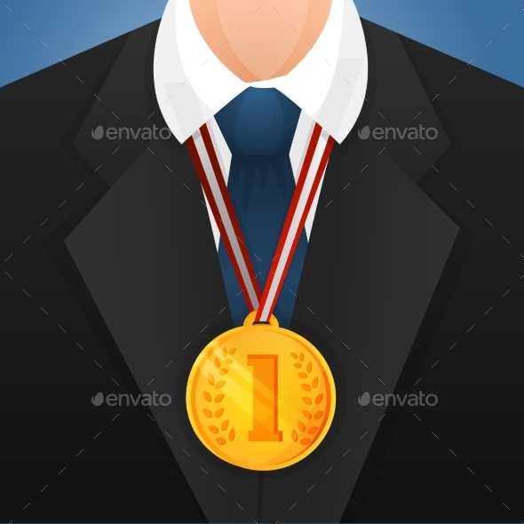 Businessman with Medal - Backgrounds Decorative