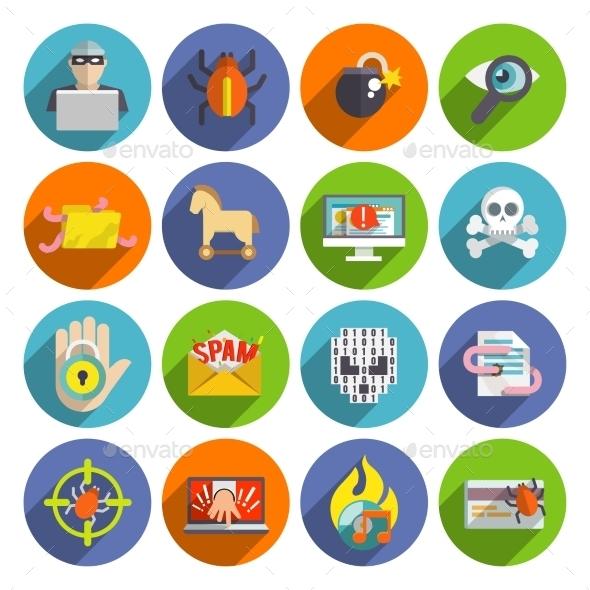Hacker Icons Flat Set - Web Technology