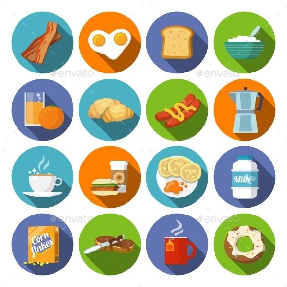 Breakfast Icon Flat - Food Objects