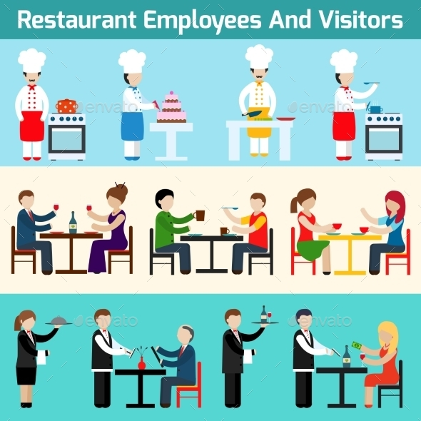 Restaurant Employees and Visitors - Borders Decorative
