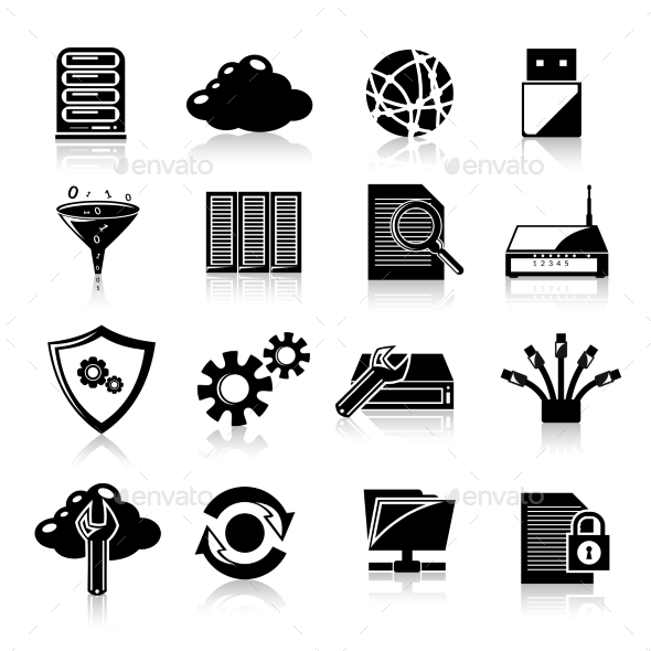 Database Icons Black - Technology Conceptual