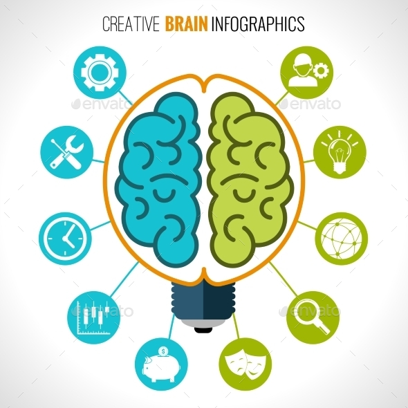 Creative Brain Infographics - Organic Objects Objects