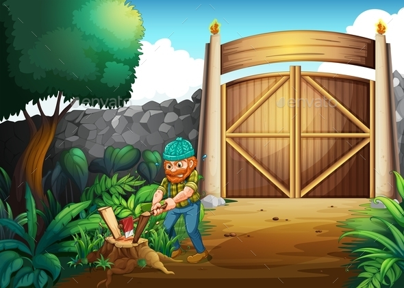 A Woodman Chopping Woods - People Characters