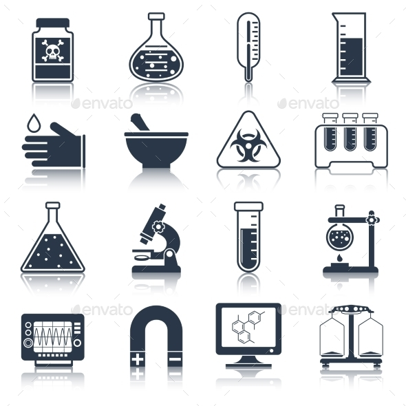 Laboratory Equipment Icons Black - Web Technology