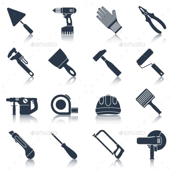 Repair construction tools black - Objects Vectors