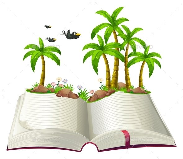 An Open Book with Coconut Trees and Birds - Man-made Objects Objects