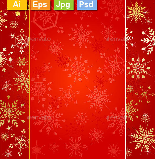 Red Background with Gold Snowflakes - Christmas Seasons/Holidays