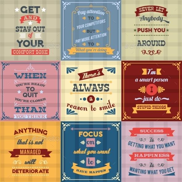 Success Quotes Set Colored - Miscellaneous Vectors