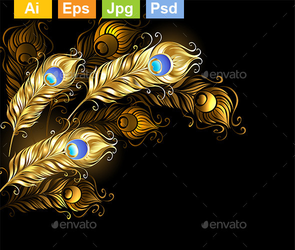 Golden Peacock Feathers - Backgrounds Decorative