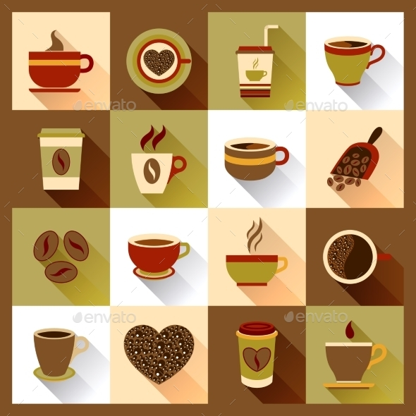 Coffee Cup Icons  - Food Objects