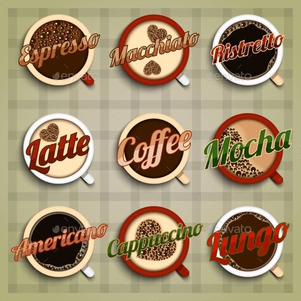 Coffee Menu Labels Set - Food Objects