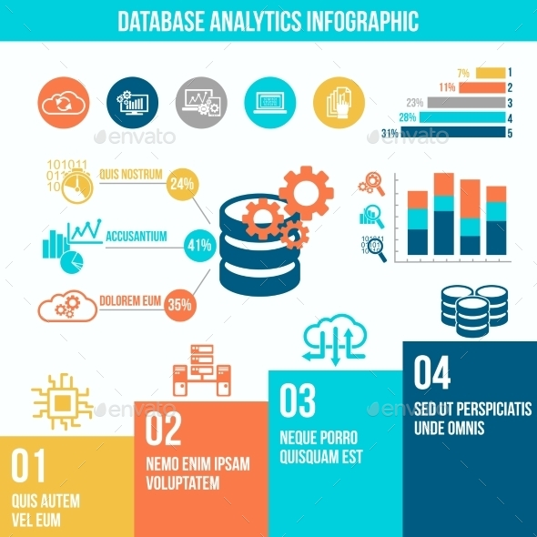Database Analytics Infographics - Computers Technology
