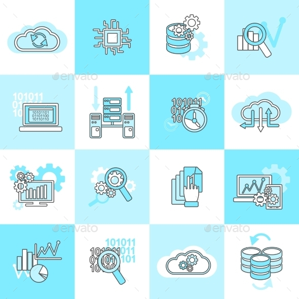 Database Analytics Icons Flat - Technology Conceptual