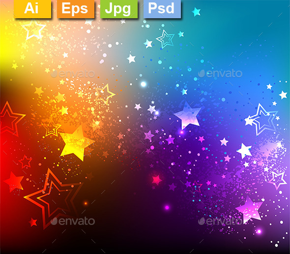 Rainbow Background with Stars - Backgrounds Decorative