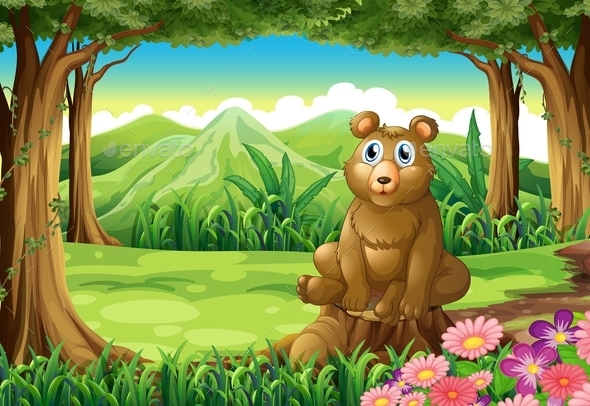 A Big Brown Bear above the Stump - Animals Characters