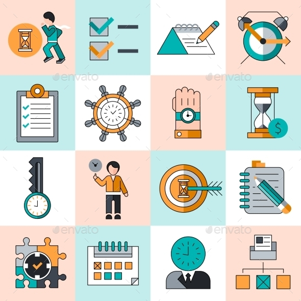 Time Management Icons Flat Line - Concepts Business
