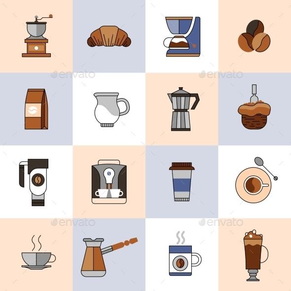 Coffee Icons Flat Line Set - Web Technology