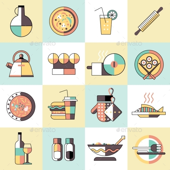 Cooking Food Icons Flat Line - Food Objects