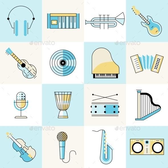 Musical Instruments Flat Line Set - Web Elements Vectors
