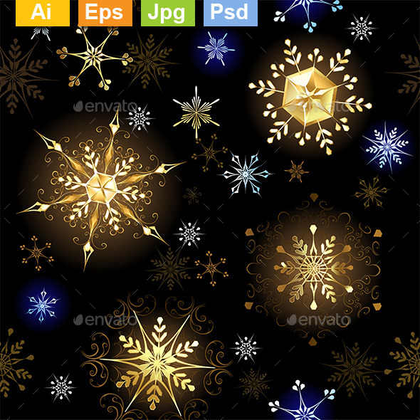 Seamless with Golden Snowflakes - Patterns Decorative