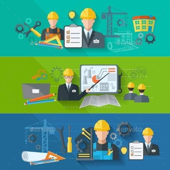 Engineer Banner Flat Set - Industries Business