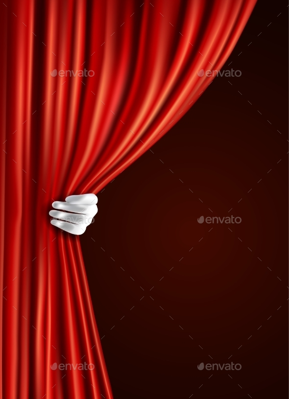 Theater Curtain with Hand - Backgrounds Decorative