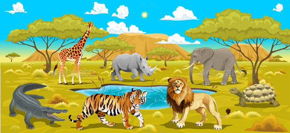 African Landscape with Animals - Animals Characters