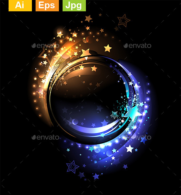Two Color Round Banner - Decorative Vectors