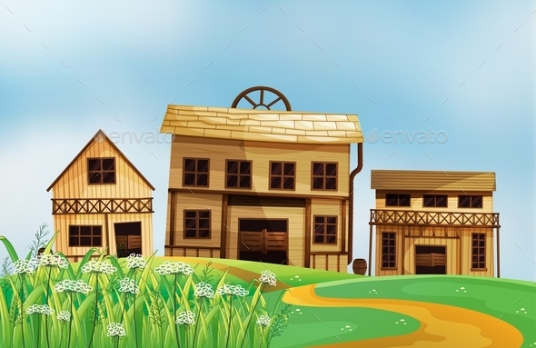 Three Different Styles of Wooden Houses - Buildings Objects