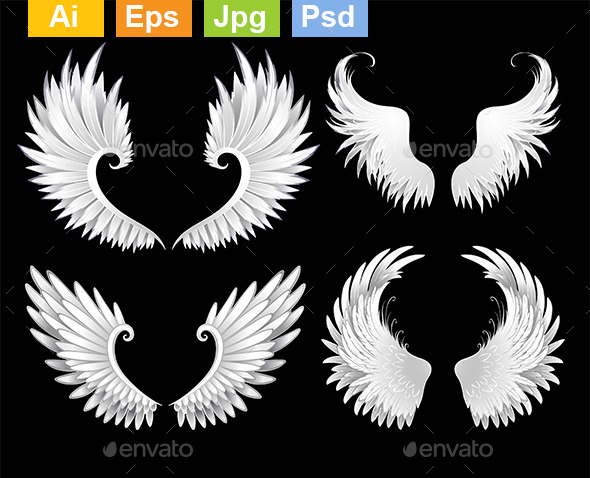 Set of White Wings - Decorative Symbols Decorative