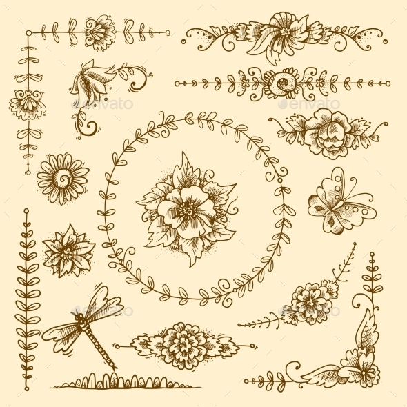 Vintage Decorative Elements - Flourishes / Swirls Decorative