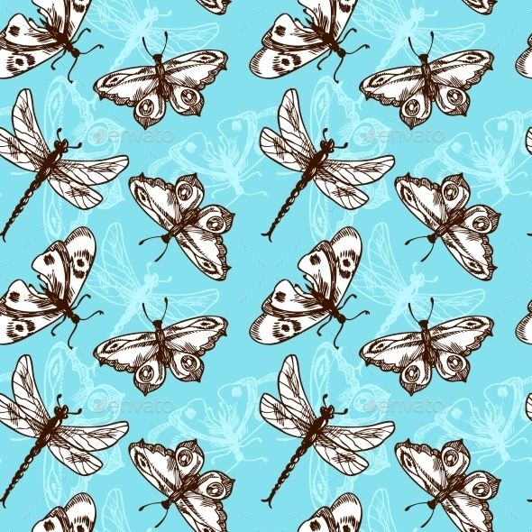 Butterflies and Dragonflies Seamless Pattern - Backgrounds Decorative