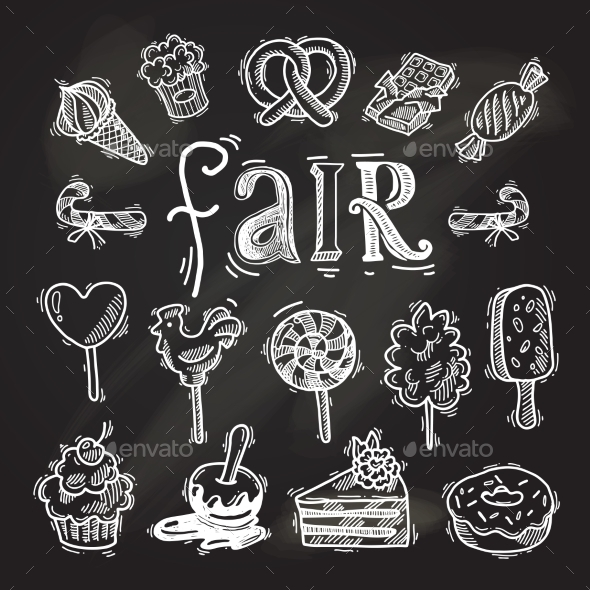 Sweets Sketch Icon Set Chalkboard - Miscellaneous Vectors