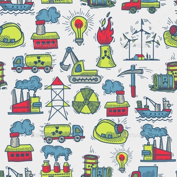 Industrial Sketch Seamless Pattern - Backgrounds Decorative