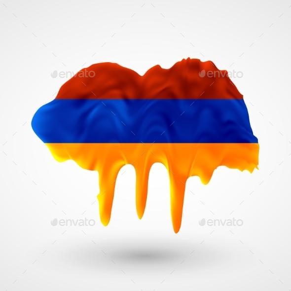 Armenian Flag Painted Colors - Travel Conceptual