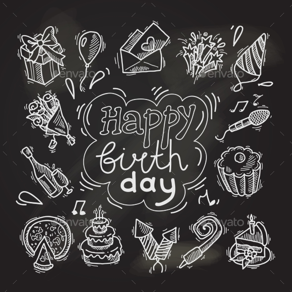Birthday Sketch Chalkboard - Birthdays Seasons/Holidays