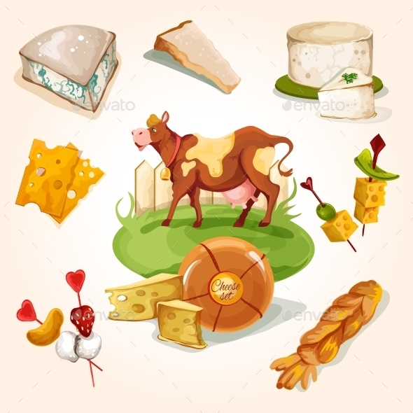 Natural Cheese Concept - Food Objects