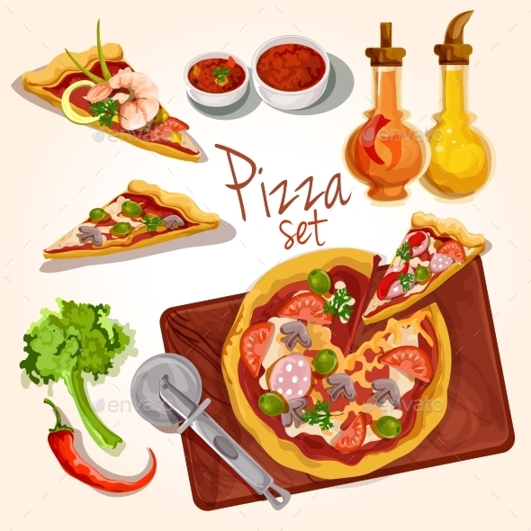 Pizza Ingredients Set - Food Objects