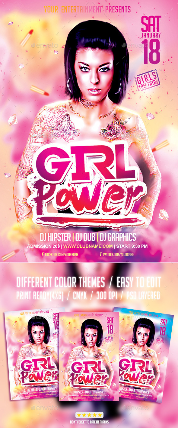 Girl Power Party | Ladies Night Flyer PSD Template - Events Flyers
