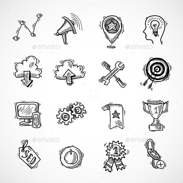 SEO Internet Marketing Sketch Set - Business Conceptual
