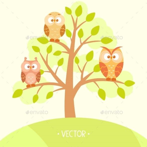 Owls in a Tree - Flowers & Plants Nature