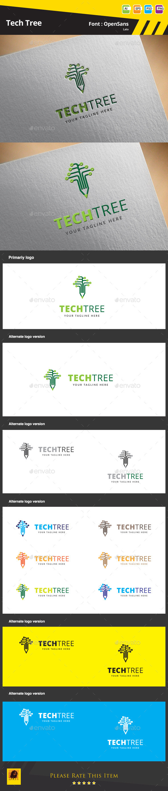 Tech Tree Logo Template - Abstract Logo Templates