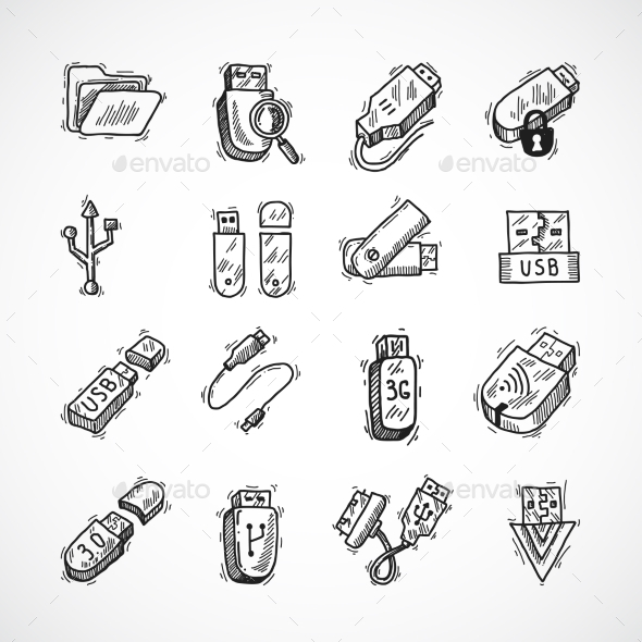 Usb Icons Set - Computers Technology