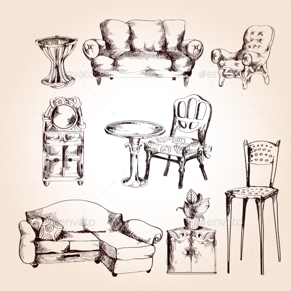 Furniture Sketch Set - Decorative Symbols Decorative