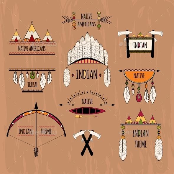 Tribal Labels Set - Decorative Symbols Decorative