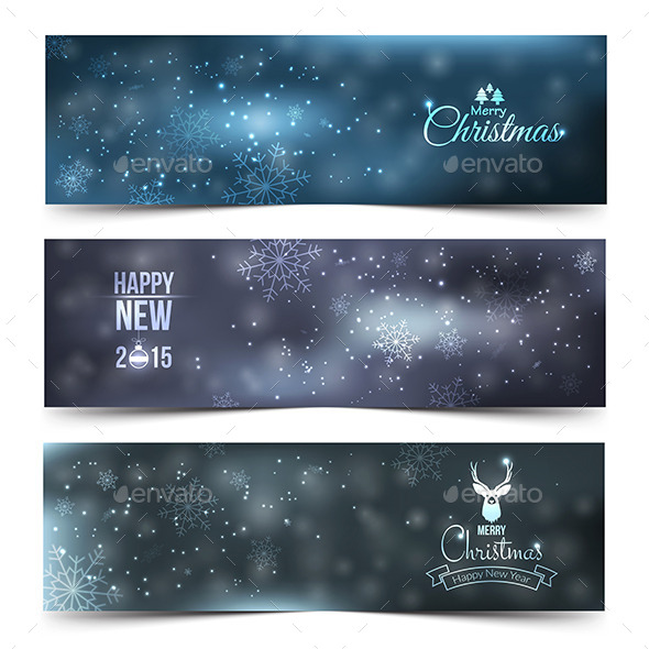 Set of Colorful Abstract Christmas Banners - New Year Seasons/Holidays
