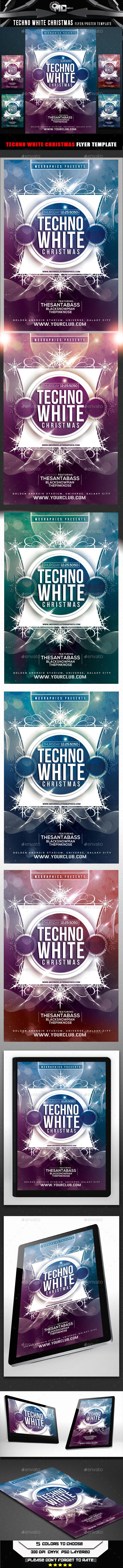 Techno White Christmas Flyer Template - Flyers Print Templates