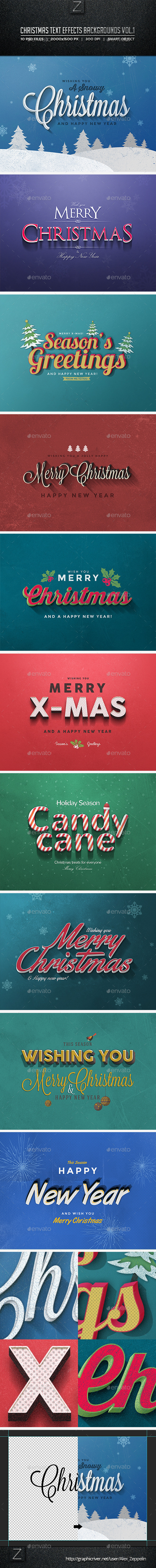 Christmas Text Effects Backgrounds Vol.1 - Backgrounds Graphics